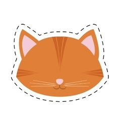 orange cat face pink nose mustache line dotted vector image vector image