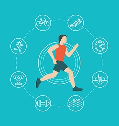 running and jogging infographics concept vector image