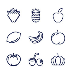 9 fruit icons vector