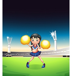 A young woman dancing at the soccer field vector image