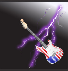 American rock and roll guitar realistic lightning vector