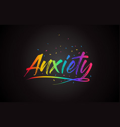 Anxiety word text with handwritten rainbow vector
