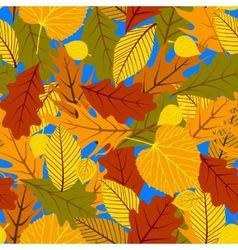 Autumn seamless background with leaves vector