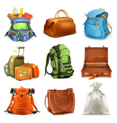 bags set backpack schoolbag suitcase sack 3d icon vector image