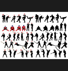 Baseball silhouette set vector