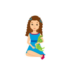beautiful girl with a toy in festive moo vector image