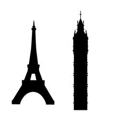 Big ben and eiffel tower vector