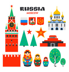 big russia set moscow kremlin matrioshka and vector image