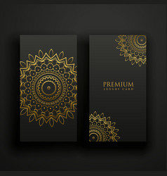 black and gold luxury mandala cards vector image