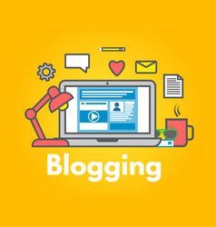 blogging concept on yellow background laptop with vector image