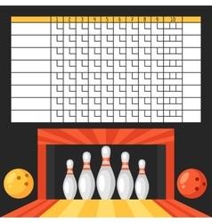 Bowling score sheet Blank template scoreboard vector image
