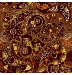 Brown and yellow Paisley pattern vector