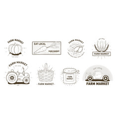 bundle logotypes for farm market locally grown vector image