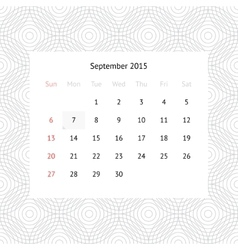 Calendar page for September 2015 vector image