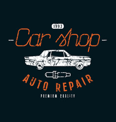 car shop and repair emblem vector image