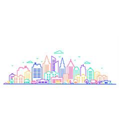 city landscape thin line city landscape in neon vector image