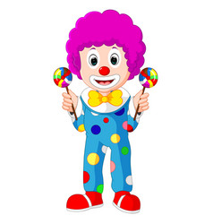 colorful friendly clown with lollypop vector image