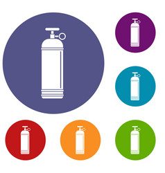 Compressed gas container icons set vector