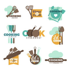 Cooking school or classes isolated icons vector