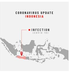 Corona virus update with indonesian dot map vector
