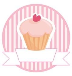 Cupcake button logo or wedding invitation card vector
