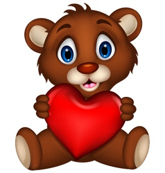 cute baby brown bear cartoon posing with heart lov vector image