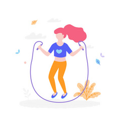 cute girl with jumping rope outdoors in park vector image