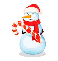 cute snowman funny cartoon character vector image