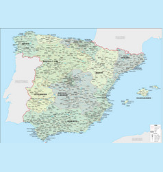 detailed administrative map spain vector image