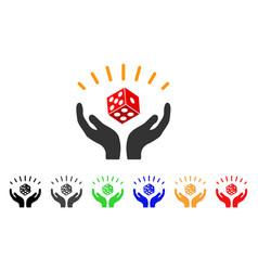 dice win hands icon vector image