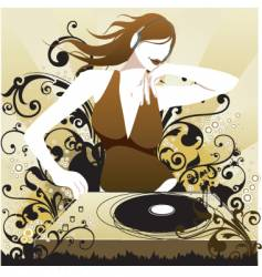 Dj babe in mix vector