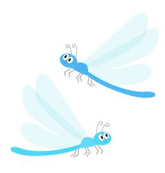 dragonfly icon set cute cartoon kawaii funny vector image