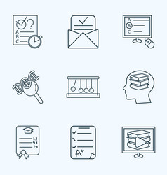 education icons line style set with biology vector image