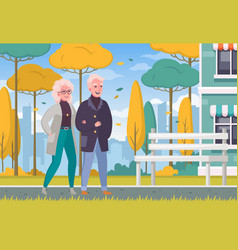 elderly people outdoor cartoon vector image