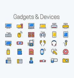 electronics gadgets and devices icon set in thin vector image
