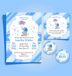 Elephant baby shower invitation birthday party vector
