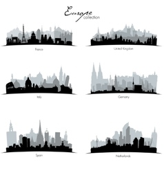 European countries silhouettes vector