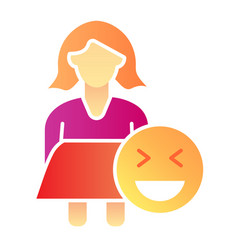Female plus size flat icon fat woman and emoji vector