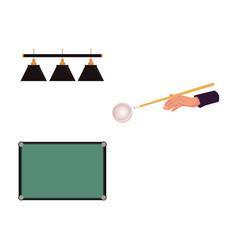 Flat billiard objects - table aiming hand lights vector