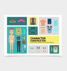 Flat sport man character infographics vector