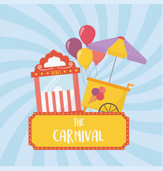 Fun fair carnival ticket booth and ice cream vector