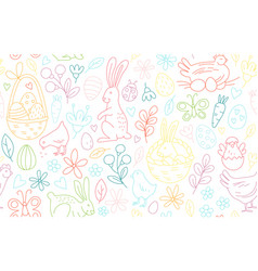funny happy easter seamless pattern background vector image