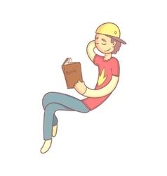 Giy Reading A Book Smiling vector