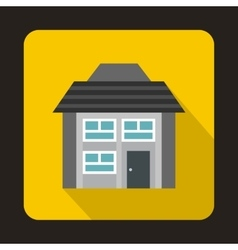 Grey two storey house icon in flat style vector image