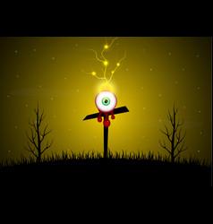 Halloween blood eyeball cross graveyard tree vector