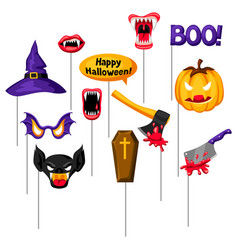 Halloween photo booth props accessories vector