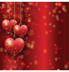 Hanging hearts Valentines Day background vector