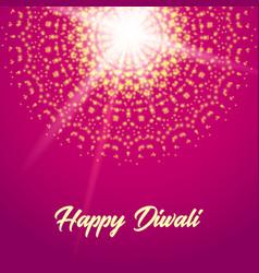 happy diwali greeting card mandala vector image