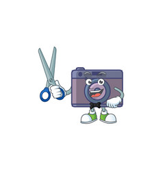 Happy smiling barber retro camera mascot design vector