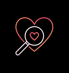 heart with magnifier outline colorful icon vector image